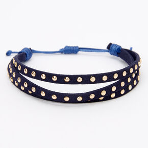 Gold Studded Adjustable Bracelet - Navy,