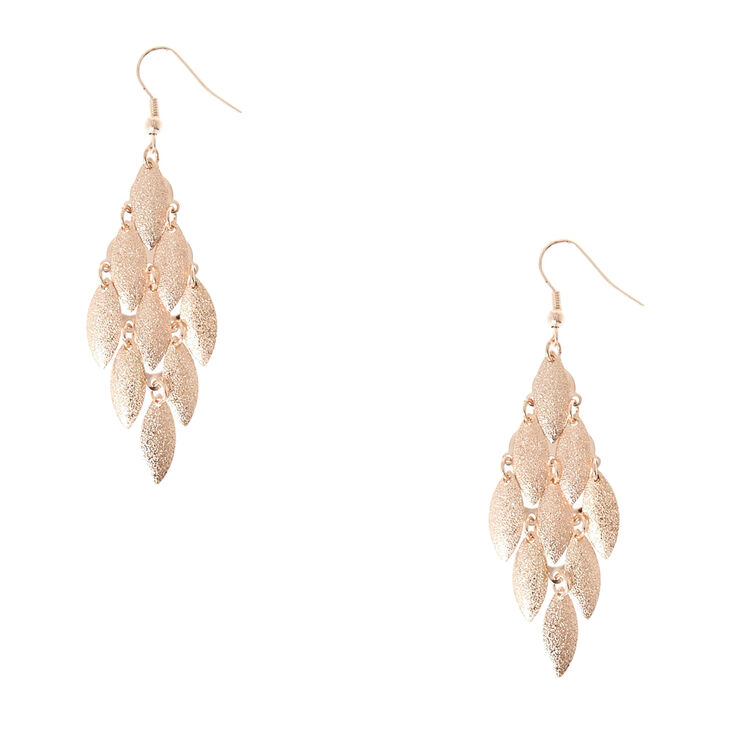 Rose Gold Sandblasted Chandelier Drop Earrings,