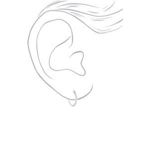 Sterling Silver 12MM Textured Hoop Earrings,