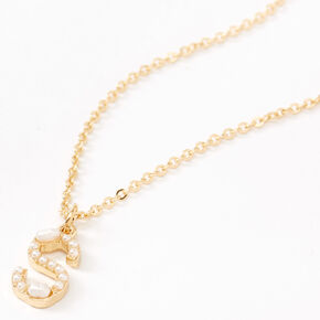 Gold Pearl Initial Pendant Necklace - S,