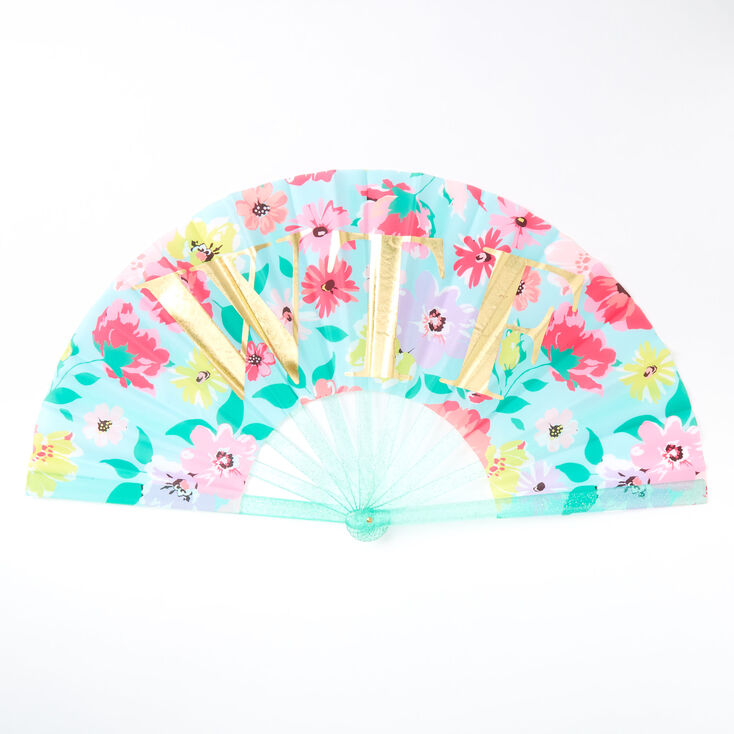 WTF Floral Oversized Folding Fan - Mint,