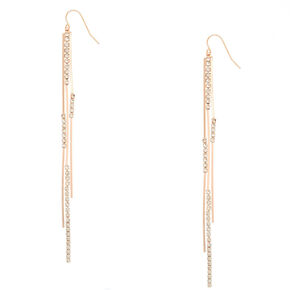 "Rose Gold 4"" Embellished Bar Drop Earrings,"