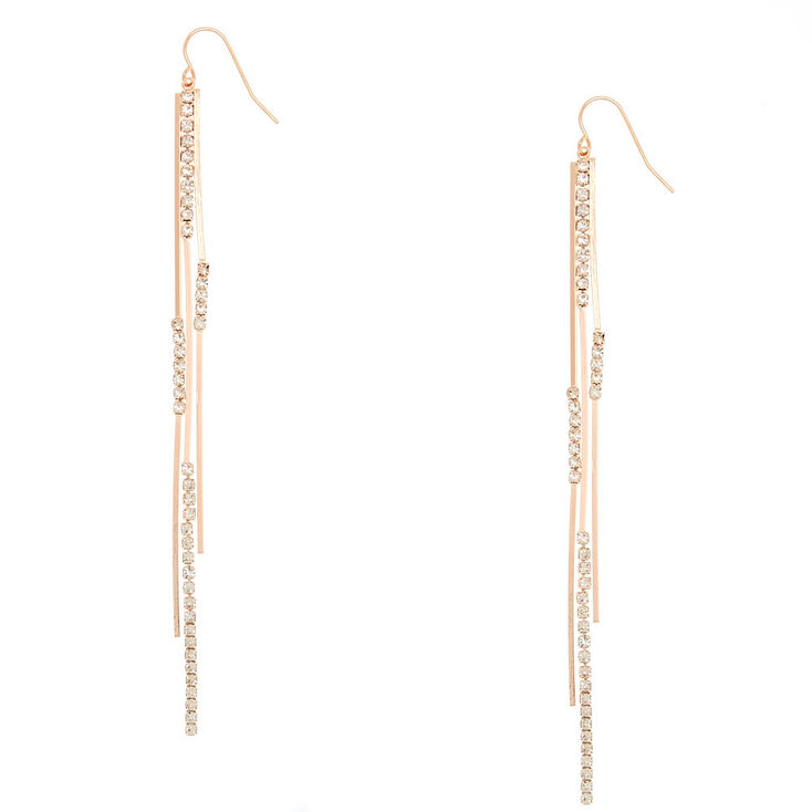 "Rose Gold 4"" Embellished Bar Drop Earrings,"