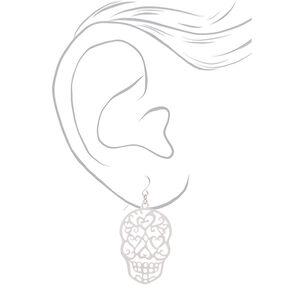 """Silver 2"""" Filigree Skull Drop Earrings,"""