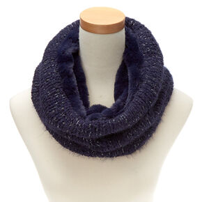 Reversible Knit Infinity Scarf - Navy,