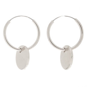 Silver 12MM Disc Hoop Earrings,