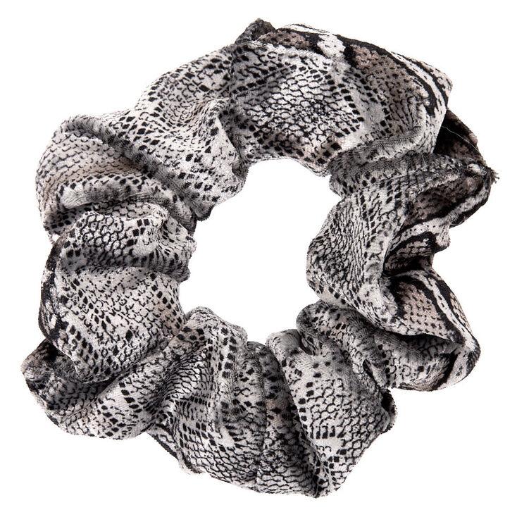 Medium Velvet Snakeskin Hair Scrunchie - Gray,