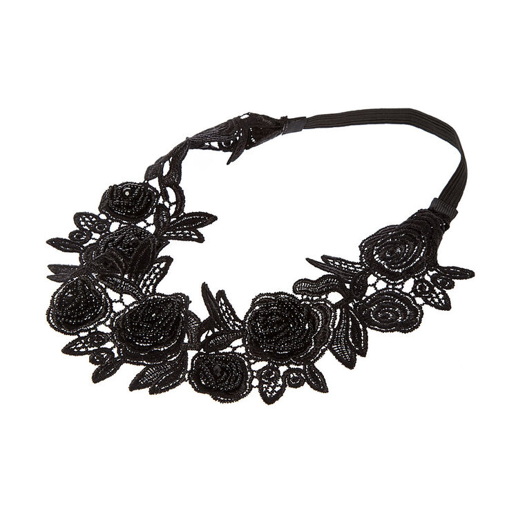 Black Crochet Lace & Seed Bead Roses Headwrap,