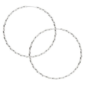 Silver 40MM Twist Hoop Earrings,