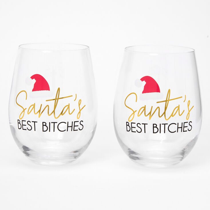 Santa's Best Bitches Wine Glasses - 2 Pack,