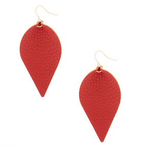 "Gold 2.5"" Leaf Drop Earrings - Red,"