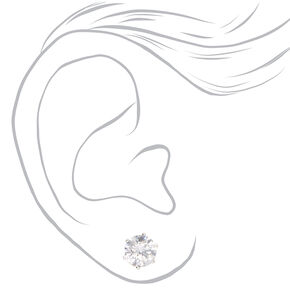 Silver Cubic Zirconia Round Magnetic Stud Earrings - 8MM,