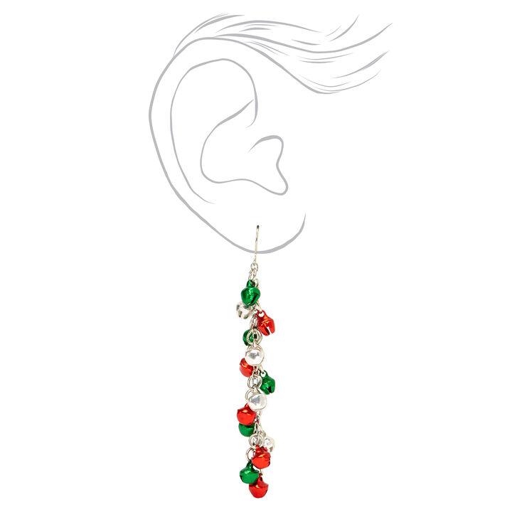 """Silver 3"""" Mixed Jingle Bell Drop Earrings,"""