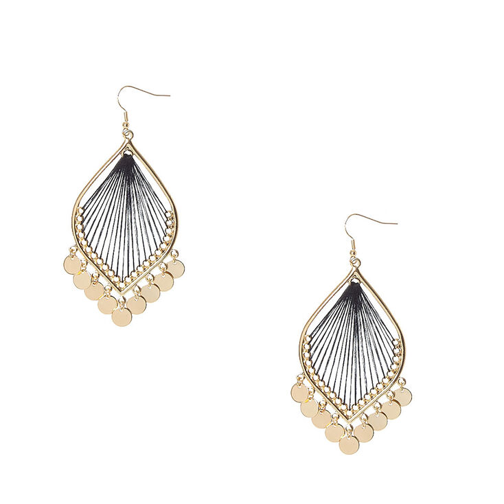 Gold Tone Dreamcatcher with Coin Fringe Drop Earrings,