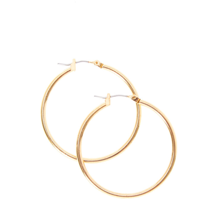 Small Smooth Gold Hoop Earrings,