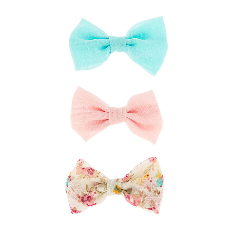 Mini Pastel & Floral Print Bow Hair Clips,