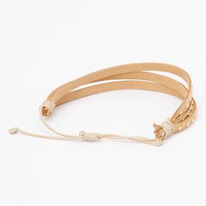 Gold Studded Adjustable Bracelet - Beige,