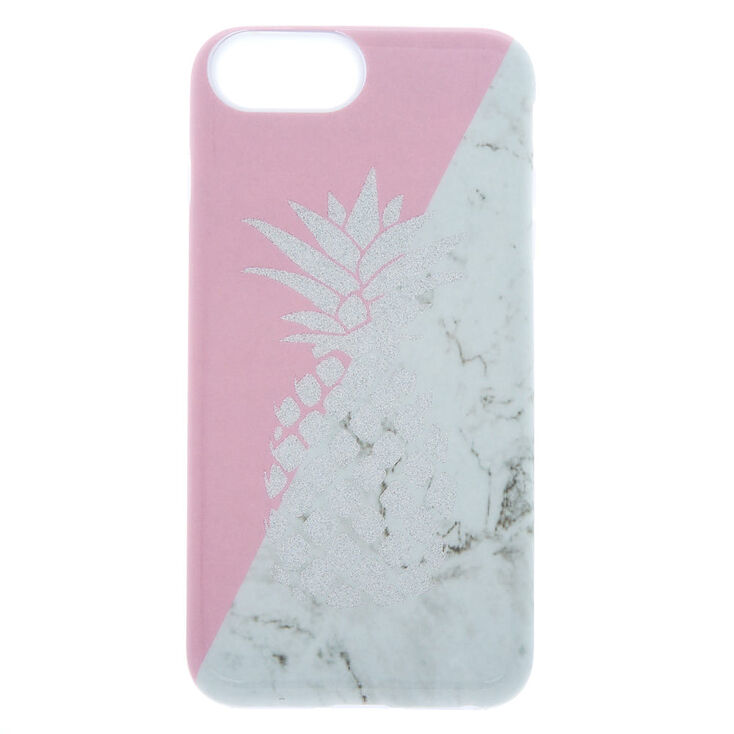 Pink and Marble Pineapple Protective Phone Case - Fits iPhone 6/7/8 Plus,