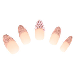 Glitter Bling Faux Nail Set - Pink, 24 Pack,