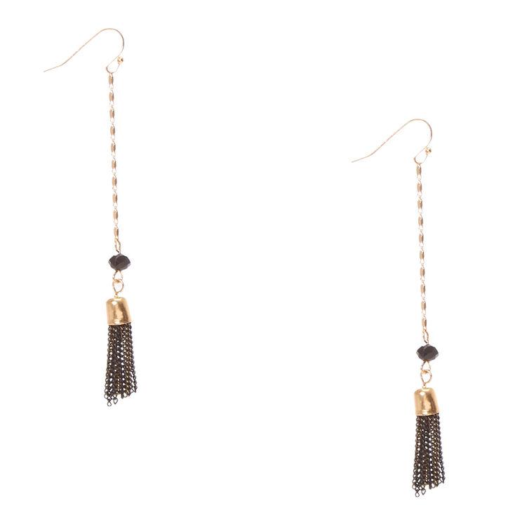 Black & Gold Chain Tassel Fringe Drop Earrings,