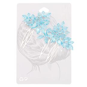Rhinestone Flower Hair Comb - Blue,