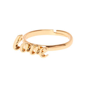 Gold-Tone LOVE Adjustable Ring,