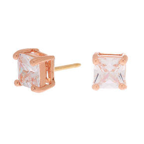 18kt Rose Gold Plated Cubic Zirconia 5MM Square Stud Earrings,