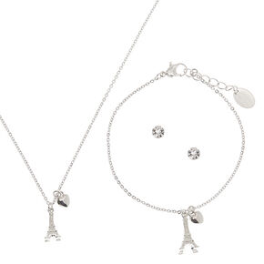 Silver Eiffel Tower Jewelry Set - 3 Pack,