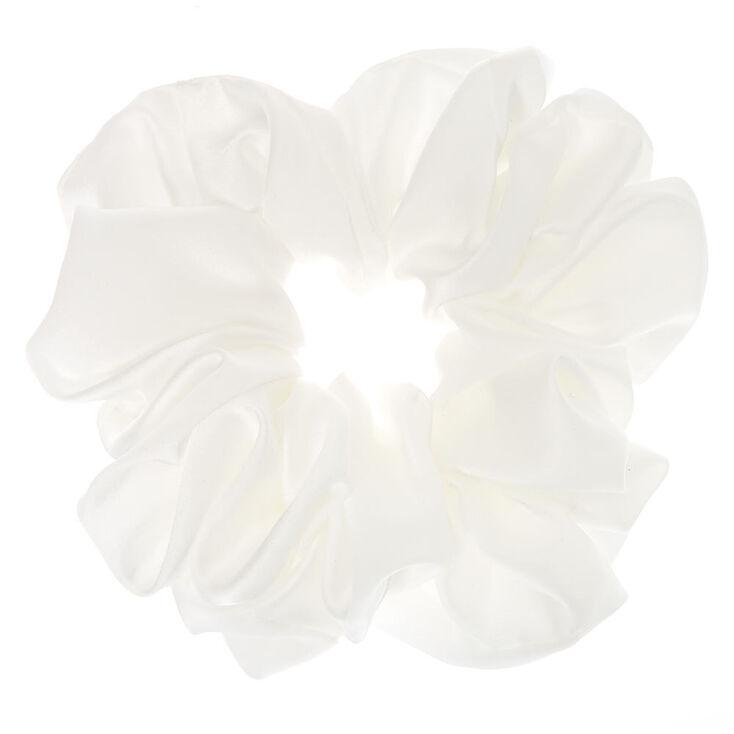 Giant Satin Hair Scrunchie - White,
