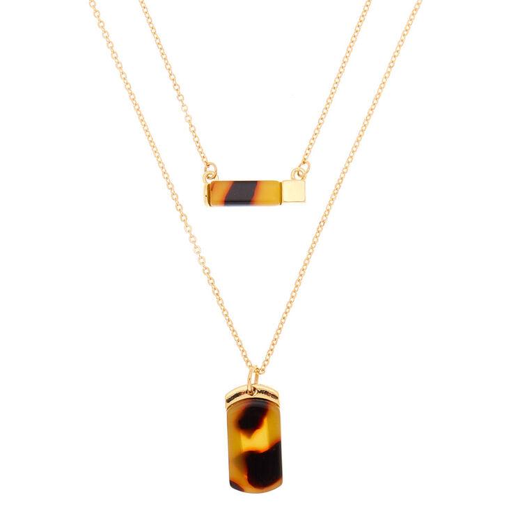 Gold Resin Tortoiseshell Pendant Necklaces - 2 Pack,