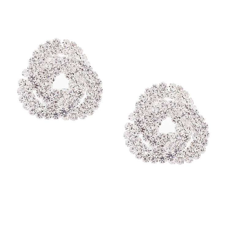Rhinestone Knot Stud Earrings,
