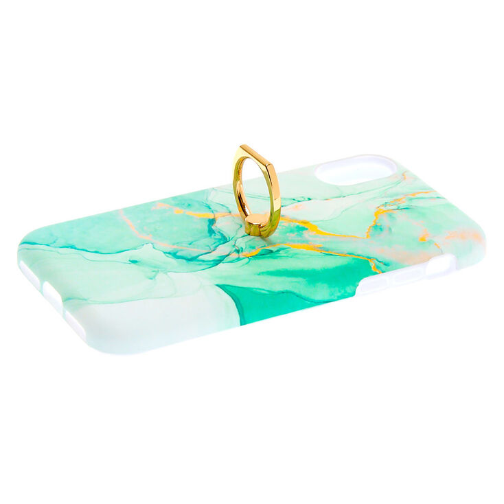 Green Marble Ring Holder Phone Case - Fits iPhone 6/7/8/SE,