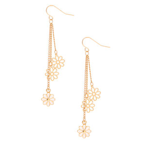 "Gold 2.5"" Daisy Drop Earrings,"