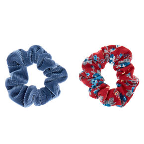 Floral Velvet Hair Scrunchies - Red, 2 Pack,
