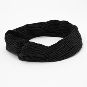 Velvet Pleated Twisted Headwrap - Black,