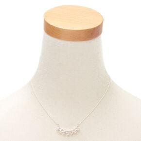 Silver Cubic Zirconia Fan Pendant Necklace,