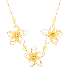 Gold Wire Floral Statement Necklace - Yellow,