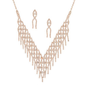 Rose Gold Fringe Rhinestone Jewelry Set - 2 Pack,
