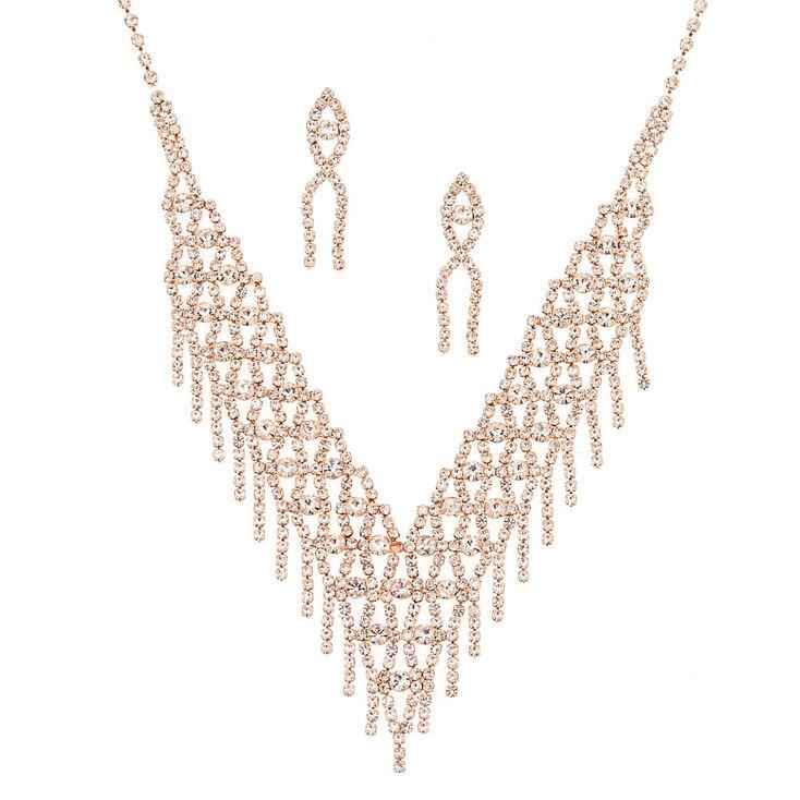 Rose Gold Fringe Rhinestone Jewelry Set - 2 Pack,
