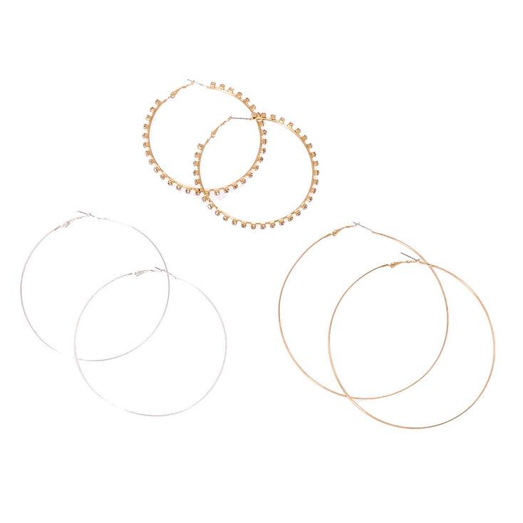 Silver & Gold Tone Large Hoop Earrings,
