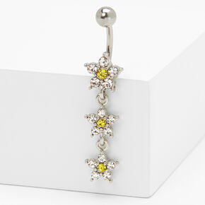 Silver 14G Triple Crystal Daisy Belly Ring - Yellow,