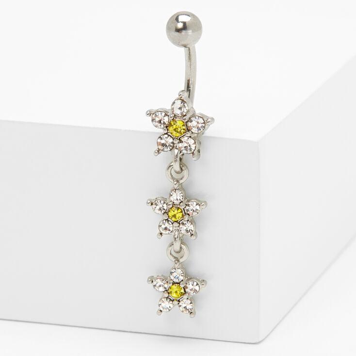 Silver 14G Crystal Triple Daisy Belly Ring,