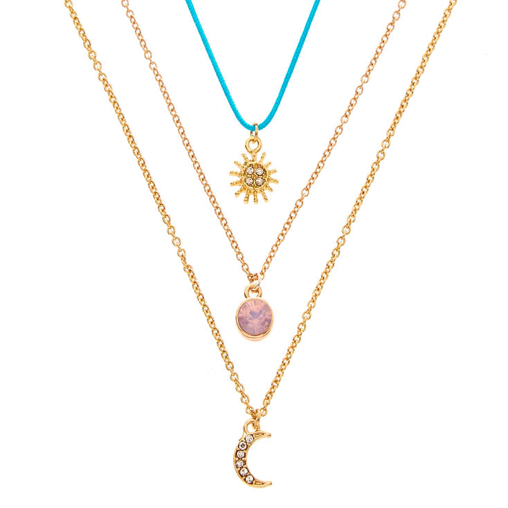b431fc32bf 3 Pack Sun, Moon, & Opal Pendant Necklaces | Icing US
