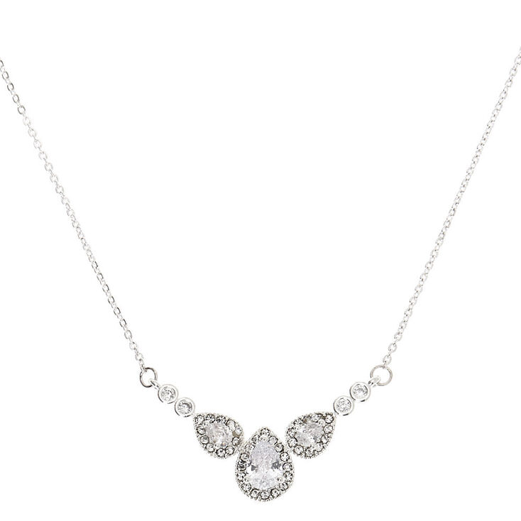 Silver Cubic Zirconia Teardrop Pendant Necklace,