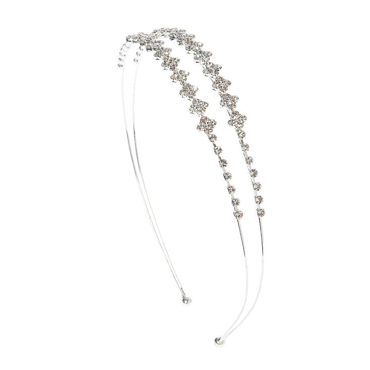 Crystal Diamonds Double Row Headband,