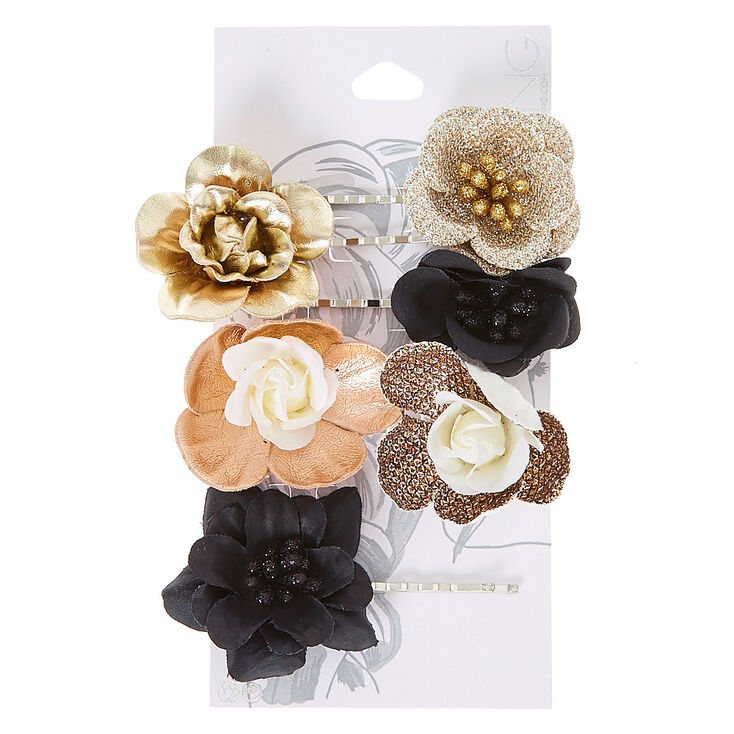 Metallic Flower Hair Barrettes - Gold,  6 Pack,
