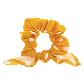 Polka Dot Knotted Bow Hair Scrunchie - Mustard,