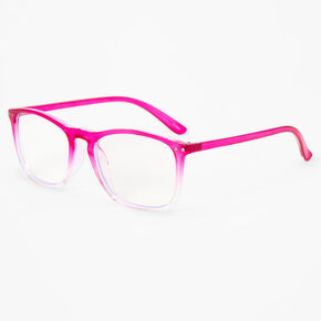 Blue Light Reducing Retro Ombre Clear Lens Frames - Neon Pink,