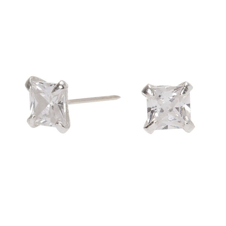 Sterling Silver Cubic Zirconia Square Stud Earrings - 3MM,