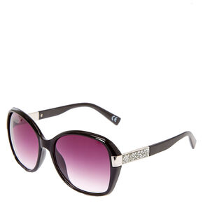 Oversized Bling Arm Tinted Sunglasses - Black,